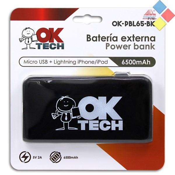 BATERIA EXTERNA OKTECH 6500MAH 2.1A  MICRO USB/LIGTHING NEGRO
