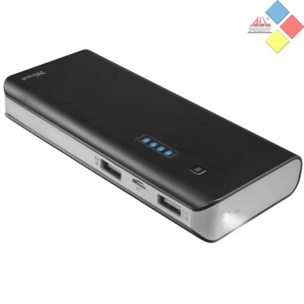 BATERIA EXTERNA TRUST PRIMO 10000MAH 2 USB 5V 2.1A / 1A + LINTERNA NEGRA / BLANCA