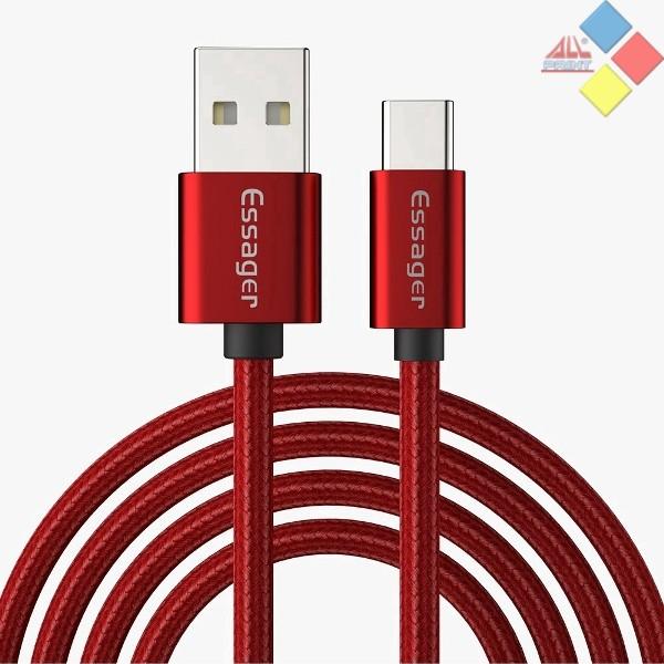 CABLE USB 3.0  - TIPO C USB 1M  ESSAGER NYLON ALTA CALIDAD HASTA 3A