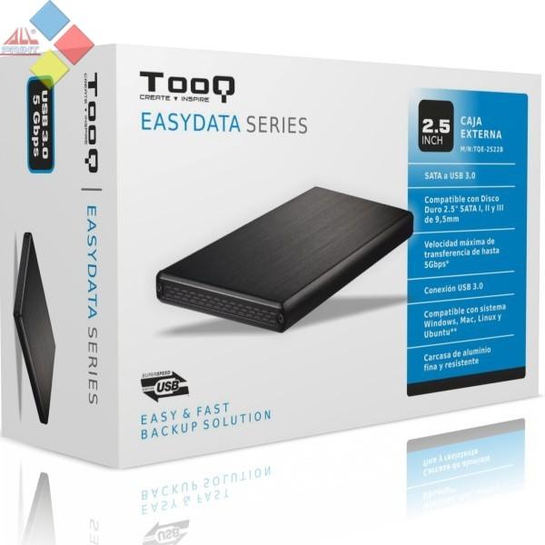 """CAJA EXTERNA SATA 2.5"""" 9,5MM TOOQ-2522B USB 3.0 NEGRA"""