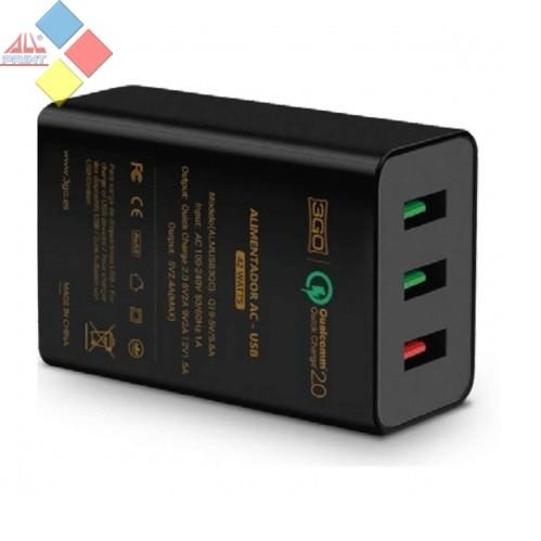 CARGADOR USB 3 PUERTOS 1 QC + 2 USB 3GO 5V 2.4A