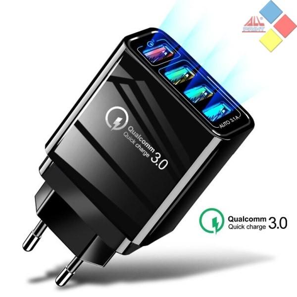 CARGADOR USB 4 PUERTOS QC 3.0 220V AC 5V / 9V / 12V 30W MAX. NEGRO