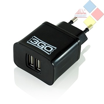 CARGADOR USB DOBLE 220V AC VALIDO PARA CABLES USB MP3 Y MOVILES 3GO 5V 4A
