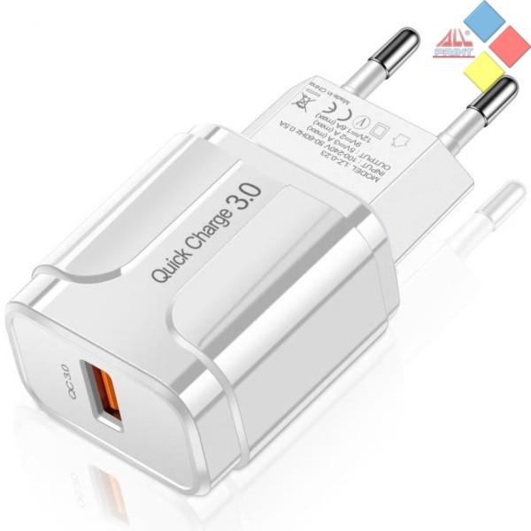 CARGADOR USB SLS-002 QC 3.0 220V AC 5V / 9V / 12V 18W MAX. BLANCO 3A