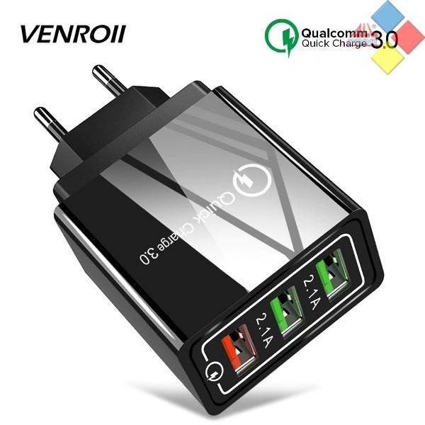 CARGADOR USB TRIPE VENROII QC 3.0 220V AC 5V / 9V / 12V 18W MAX. NEGRO