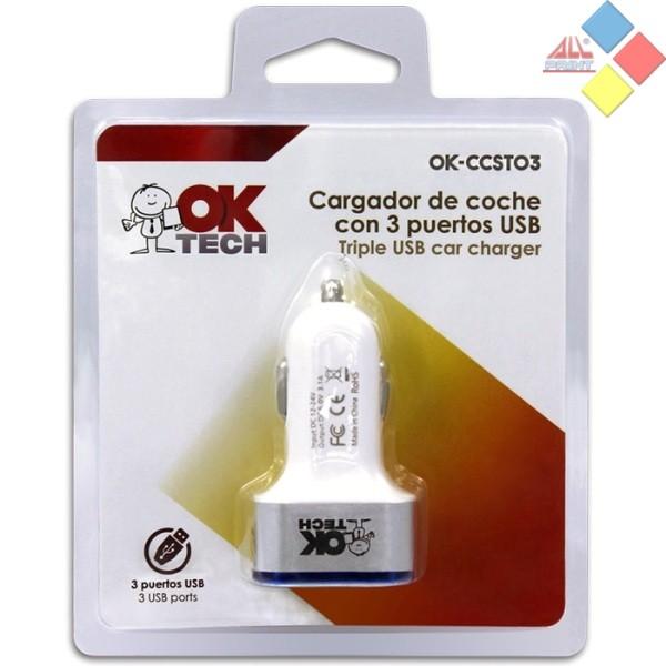 CARGADOR USB TRIPLE  PARA COCHE 12V DC 5V 3,1A