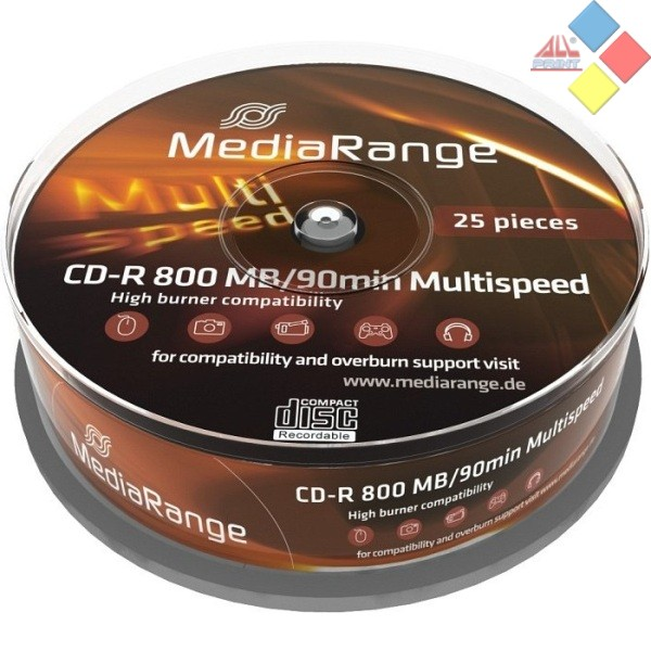 CD-R 90' MEDIARANGE SPINDLE 25 52X ***LIQUIDACION***