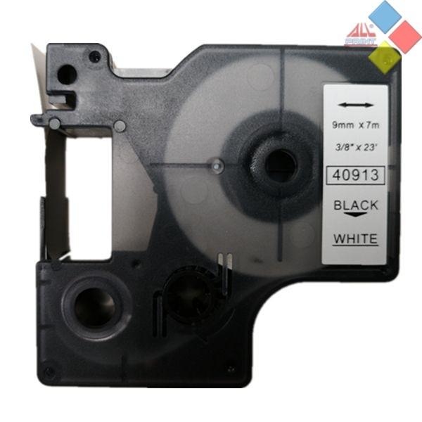 CINTA COMPATIBLE ROTULADORA DYMO D1 40913 CINTA BLANCA LETRA NEGRA 9mm X 7m
