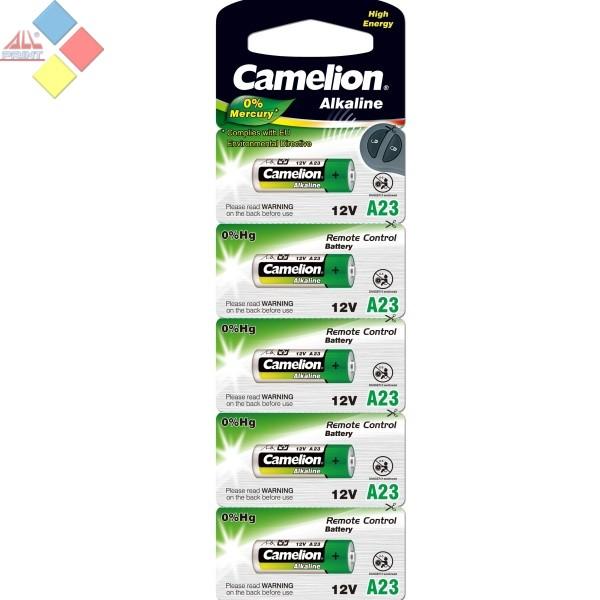 Camelion - Pila Alcalina 0% MERCURIO Control Remoto A23/LR23A/GP23A  12V - Pack 5 unidA
