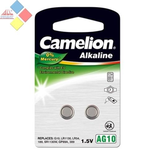 Camelion - Pila boton ALKALINE 0% MERCURIO AG10/G10/LR1130/LR54/189 -1.5V - Pack 2 unid