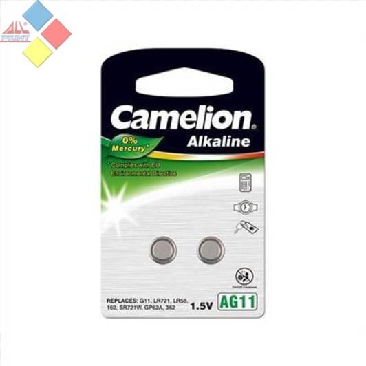 Camelion - Pila boton ALKALINE 0% MERCURIO AG11/G11/LR721/LR58/162 - 1.5V - Pack 2 unid