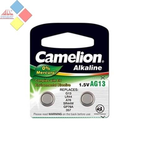 Camelion - Pila boton ALKALINE 0% MERCURIO AG13/G13/LR44/A76/GP76A - 1.5V - Pack 2 unid