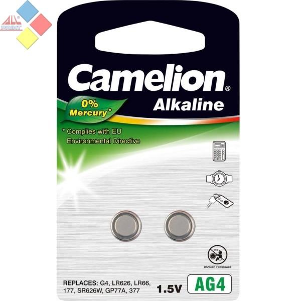 Camelion - Pila boton ALKALINE 0% MERCURIO AG4/G4/LR626/LR66/177/SR66 - 1.5V - Pack 2 unid
