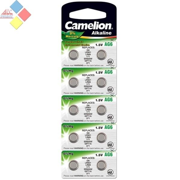Camelion - Pila boton ALKALINE 0% MERCURIO AG6/G6/LR921/LR69/171/GP71A - 1.5V - Pack 10 unid