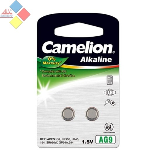 Camelion - Pila boton ALKALINE 0% MERCURIO AG9/G9/LR936/LR45/194 - 1.5V - Pack 2 unid