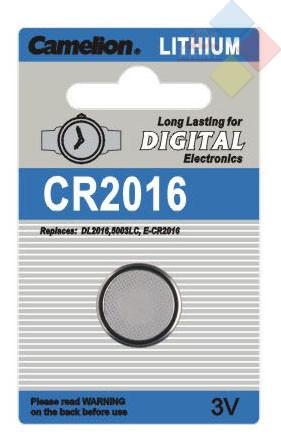Camelion - Pila boton LITHIUM CR2016/DL2016/5000LC/E-CR2016 - 3V - Blister 1 unid
