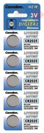 Camelion - Pila boton LITHIUM CR2025/DL2025/5003LC/E-CR2025 - 3V - Pack 5 unid