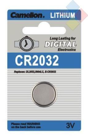 Camelion - Pila boton LITHIUM CR2032/DL2032/5004LC/E-CR2032 - 3V - Blister 1 unid