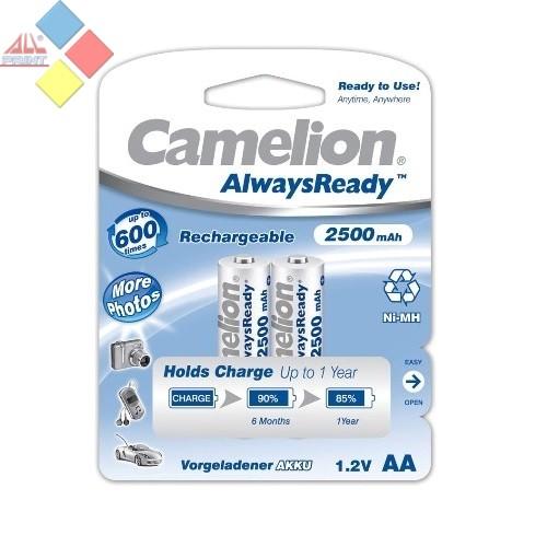"""Camelion - Pilas recargables AA 2500mAh Ni-MH/ 2 unid. """"ALWAYS READY TO USE"""" NO PIERDEN CARGA"""