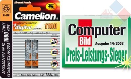 Camelion - Pilas recargables AAA 1100mAh Ni-MH / 2 unid