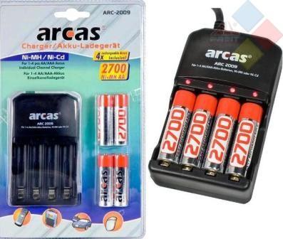 Cargador de pilas Arcas 4 x AA o 4 x AAA - Ni-MH y Ni-Cd + 4 PILAS 2700 MAH