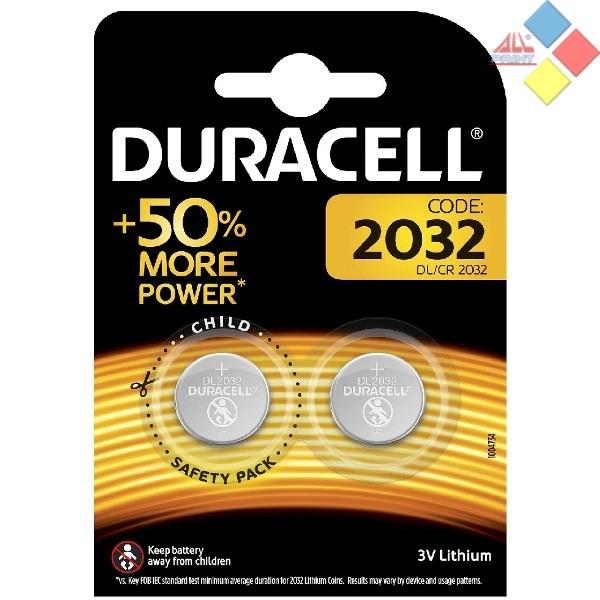 Duracell - Pila boton LITHIUM CR2032/DL2032/5004LC/E-CR2032 - 3V - Blister 2 unid