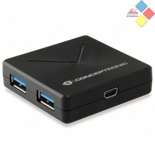 HUB CONCEPTRONIC HUBBIES02B USB 3.0 A 4 PTOS USB 3.0 NEGRO