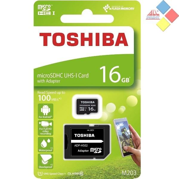 MEMORIA TOSHIBA MICRO SECURE DIGITAL 16GB M203 C.10 R100 MB/S  CON ADAPTADOR