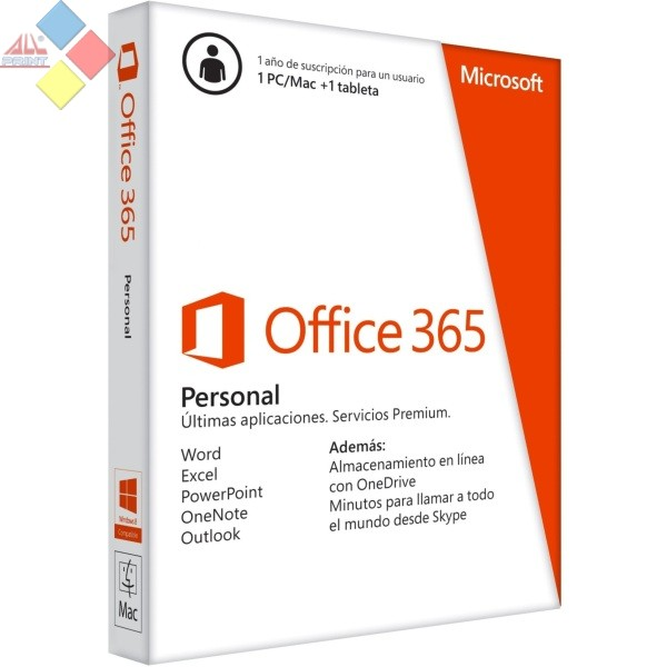 MICROSOFT OFFICE 365 PERSONAL 1 LICENCIAS PC / MAC / TABLET 1 AÑO