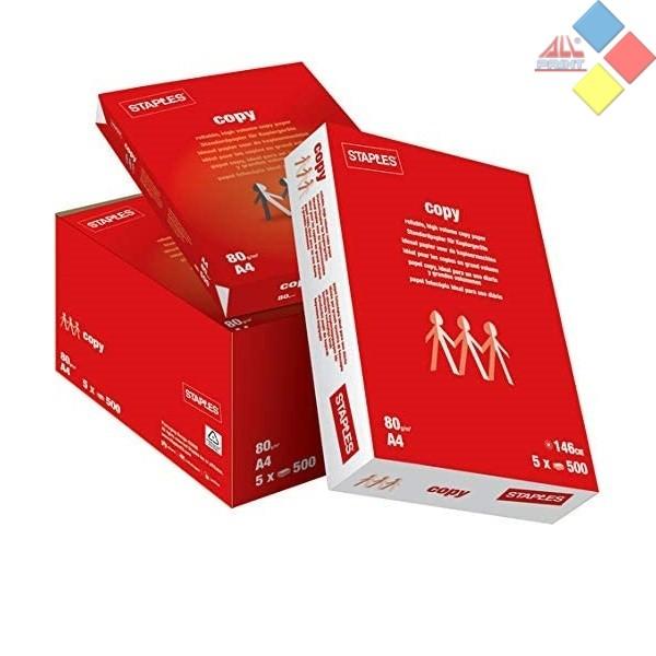 PACK DE 5  PAQUETE FOLIO A4 STAPLES 80GR. 500 UNID.