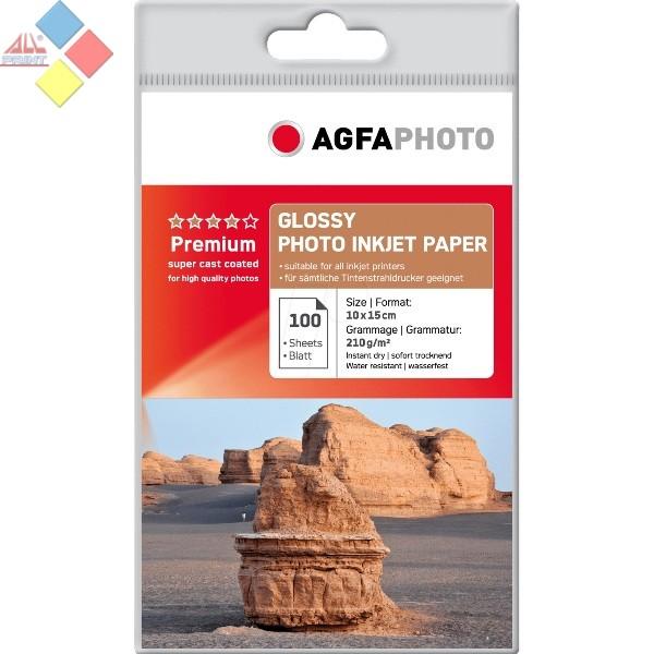PAPEL FOTO AGFA BRILLO A6 10X15 210GR 100 HOJAS AP210100A6