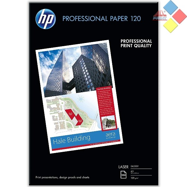 PAPEL LASER GLOSSY PROFESSIONAL HP A3 120GR. 250 UNID. CG969A