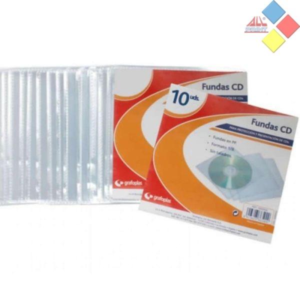 SOBRE PLASTICO 1 CD/DVD PACK 10 GRAFOPLAS
