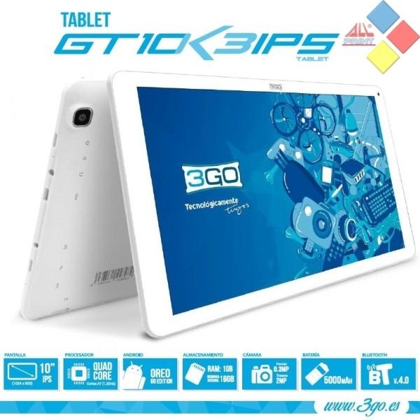 "TABLET 3GO GT10K3 10.1"" IPS QUAD CORE 1.2GHZ 1GB RAM 16 ROM BT4.0 DOBLE CAMARA OTG 6.0 BLANCA"