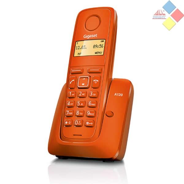 TELEFONO INALAMBRICO DECT GIGASET A120  ECO DECT / ID. LLAMADA / AGENDA 50 REG. NARANJA