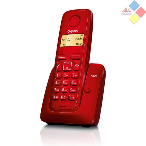 TELEFONO INALAMBRICO DECT GIGASET A120  ECO DECT / ID. LLAMADA / AGENDA 50 REG. ROJO