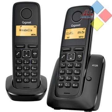 TELEFONO INALAMBRICO DECT GIGASET A120 DUO ECO / ID. LLAMADA / AGENDA 50 REG. NEGRO