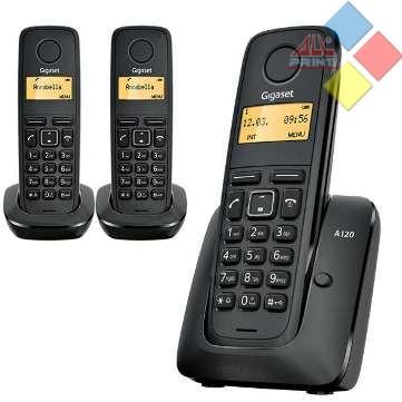 TELEFONO INALAMBRICO DECT GIGASET A120 TRIO ECO / ID. LLAMADA / AGENDA 50 REG. NEGRO