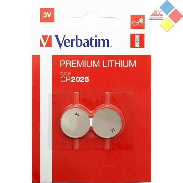 VERBATIM - Pila boton LITHIUM CR2025/DL2025/5003LC/E-CR2025 - 3V - Blister 2 unid